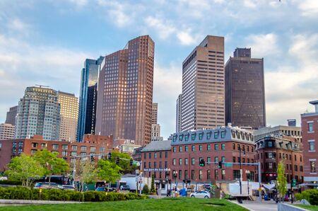 megalopolis: Skyscrapers, modern architecture in central Boston, USA Stock Photo