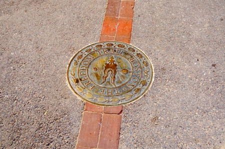 historical sites: The Freedom Trail Sign, Boston Downtown, USA Stock Photo
