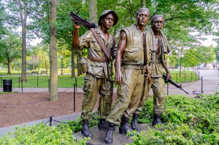 Vietnam Veterans Memorial Statue, Washington DC, USA 報道画像