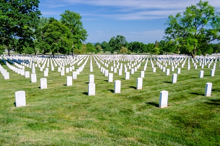 Arlington National Cemetery, rows of white grave stones