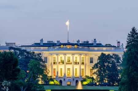 Het Witte Huis in Washington DC in de schemering Stockfoto
