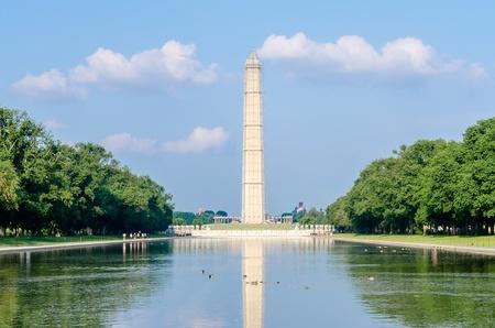 Washington Monument en Reflecting Pool, Washington DC, Verenigde Staten Stockfoto