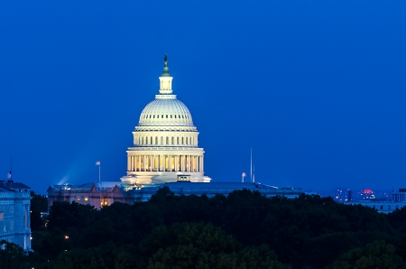 United States Capitol building at dusk, Washington DC, USA photo