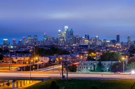 Philadelphia Skyline at Night, as seen from the Stadium District