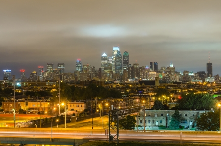 Philadelphia Skyline at Night, as seen from the Stadium District photo