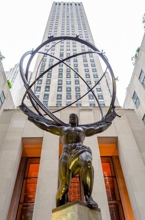 titan: Atlas Statue in the Rockefeller Center, New York Editorial