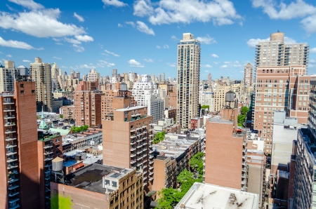New York City, Aerial View of the Upper East Side, corner between 2nd Ave and 86th st Stock Photo