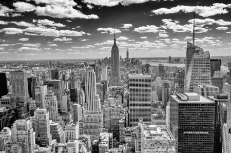 imperium: New York Skyline, Panorama over Manhattan vanaf de top van de rotsen Observation Deck