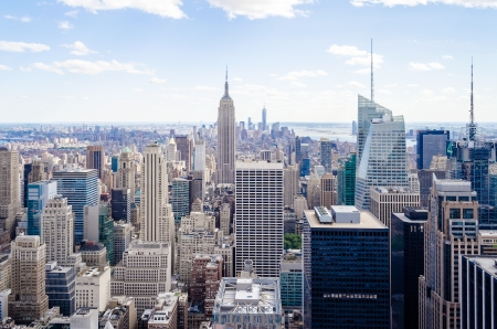 New York Skyline, Panorama over Manhattan from the Top of the Rocks Observation Deck Stock Photo