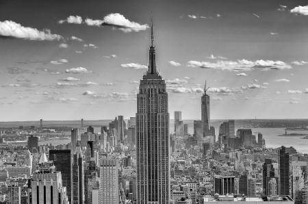 New York Skyline, Panorama over Manhattan vanaf de top van de rotsen Observation Deck