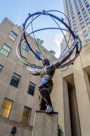 The historic Atlas Statue in the Rockefeller Center, New York