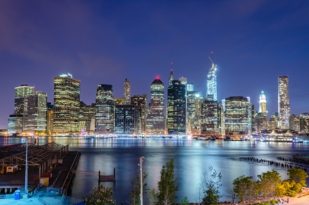 pano: Manhattan Skyline at Night, seen from Brooklyn Height Promenade