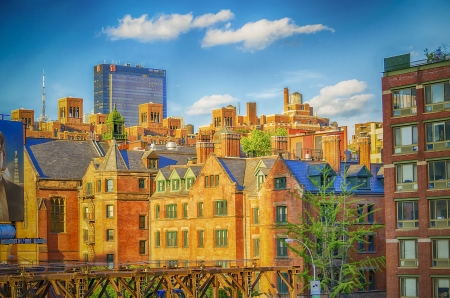 Red Brick Gebouwen bij Chelsea, Midtown Manhattan, New York City
