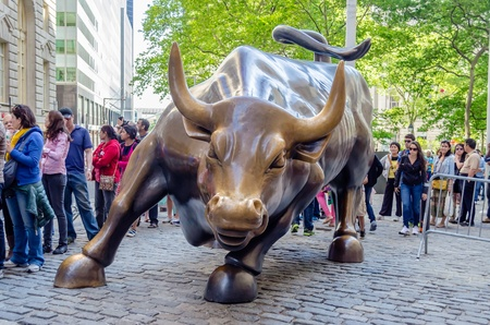 public market: The landmark Charging Bull in Downtown Manhattan