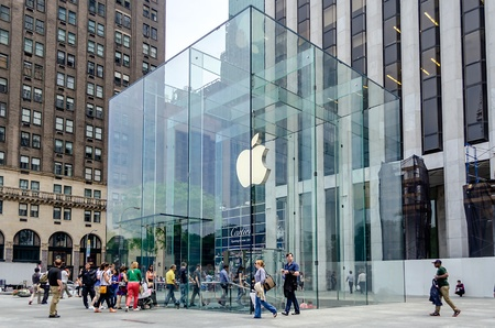 store window: Apple Store cube on 5th Avenue, New York Editorial