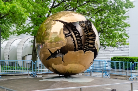 Sphere within Sphere bronze sculptures outside United Nations Headquarters in New York