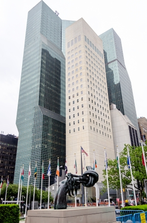 nonviolence: Non Violence Sculpture at the United Nations Headquarters in New York Stock Photo