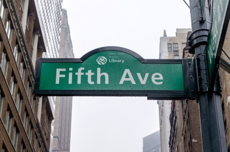 5th Avenue Sign in front of the Public Library, New York