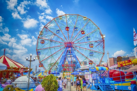 The famous Wonder Wheel in Coney Island Editorial