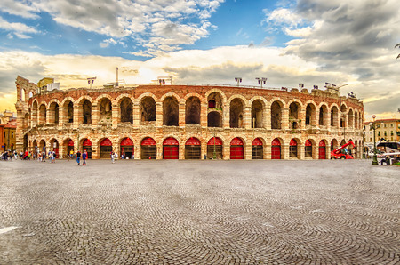VERONA, ITALY - CIRCA MAY 2014: the famous Arena di Verona, Italy, circa May 2014. Built by the Romans in the 1st century AD, the Arena is worldwide famous for the large-scale opera performances still given there