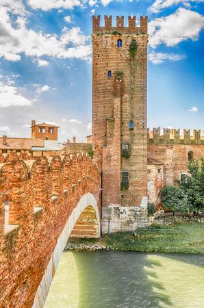 Scaliger Bridge at the Castelvecchio Castle in Verona, Italy