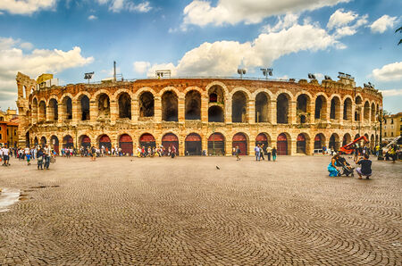 1st century ad: VERONA, ITALY - CIRCA MAY 2014: the famous Arena di Verona, Italy, circa May 2014. Built by the Romans in the 1st century AD, the Arena is worldwide famous for the large-scale opera performances still given there Editorial