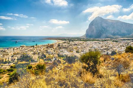 Vue panoramique de San Vito Lo Capo, Sicile, Italie Banque d'images
