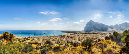 Panoramisch uitzicht van San Vito Lo Capo, Sicilië, Italië Stockfoto