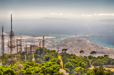 Panoramic View over the city of Trapani and Aegadian Islands from Erice, Sicily