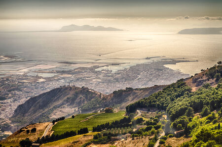 egadi: Panoramic View over the city of Trapani and Aegadian Islands from Erice, Sicily