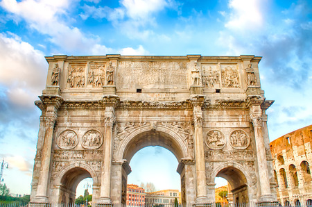 Arch of Constantine at the Roman Forum in Rome, Italy Stock Photo