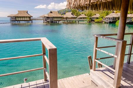 polynesia: Overwater Bungalows in Moorea, French Polynesia, Editorial