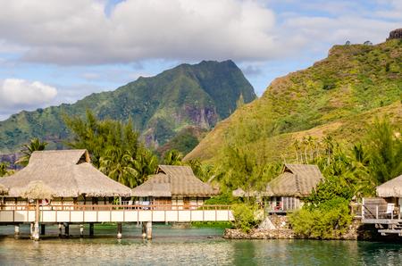 polynesia: Overwater Bungalows in Moorea, French Polynesia, Editorial