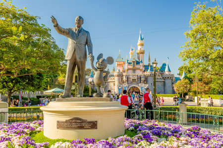Walt Disney and Mickey Mouse Statue at Disneyland Park