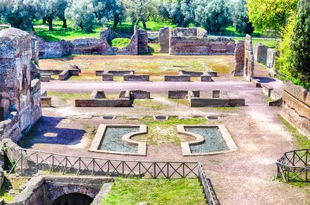 adriana: Roman Ruins at VIlla Adriana (Hadrians Villa), Tivoli, Italy Stock Photo