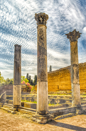 corinthian: Roman Ruins of Corinthian Columns at Villa Adriana (Hadrians Villa), Tivoli, Italy Stock Photo