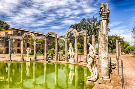 The Ancient Pool called Canopus, surrounded by greek sculptures in Villa Adriana (Hadrian's Villa), Tivoli, Italy
