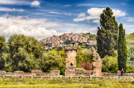 adriana: The Town of Tivoli as seen from the ruins of Villa Adriana (Hadrians Villa), Italy Stock Photo
