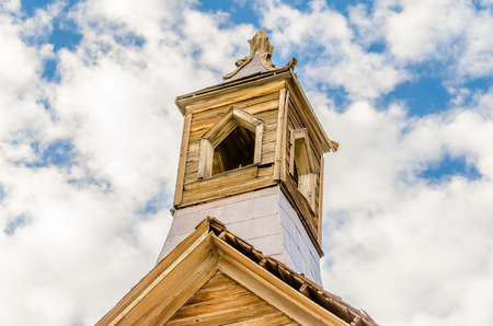 jalopy: Bell Tower in the Gold Mining Ghost Town of Bodie, State Historic Park in California, USA