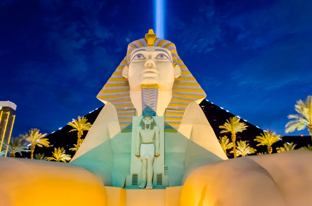 glitzy: LAS VEGAS - AUGUST 16: The Great Sphinx of the Luxor Hotel and Casino in Las Vegas on August 16, 2012. Luxor is the fourth-largest hotel in Las Vegas and the seventh largest in the world. Editorial