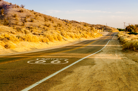 66: Historic Route 66 with Pavement Sign in California, USA