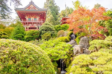japanese tea garden: Japanese Temple in the Japanese Tea Garden, San Francisco, California, USA Editorial