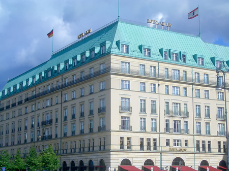 historical sites: BERLIN - AUGUST 07: The famous Hotel Adlon in Berlin, Germany as seen on August 07, 2005. The Adlon is Berlins most luxurious hotel and one of the citys historical sites