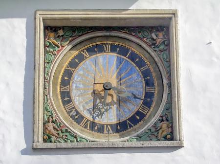 tallin: Clock of the Church of the Holy Ghost in Tallinn, Estonia Stock Photo