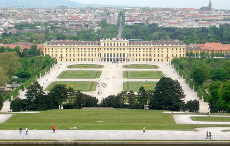 gloriette: Panoramic View of Schonbrunn Palace and Gardens in Vienna, Austria