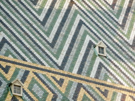 saint stephen cathedral: Colorful tiles on the roof of St Stephens Cathedral, Vienna, Austria