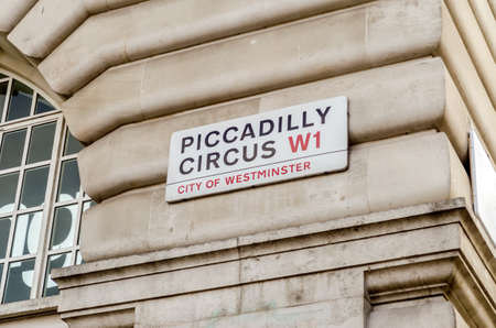 piccadilly: Piccadilly Circus street sign, London, UK