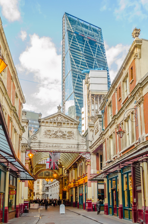 LONDON - MAY 29: Leadenhall Market, Gracechurch Street, on May 29, 2015 in London. Leadenhall Market - is one of the oldest markets in London, dating back to the 14th century.