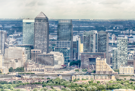 wharf: Aerial View of Canary Wharf District in London, UK