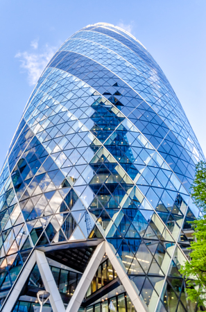 30 st mary axe: LONDON - MAY 29: The Gherkin building (30 St Mary Axe) in London on May 29, 2015. Iconic landmark of London, this is one of the citys most widely recognized examples of modern architecture. Editorial